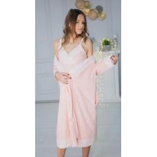 Ночная рубашка+халат для беременных и кормящих в роддом Madlen Хеппи Неня 2XL (64026502(99)06) Розовый
