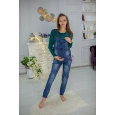 Комбинезон джинсовый для беременных с потертостями  (B3312-1)  Хеппи Неня 28 Синий